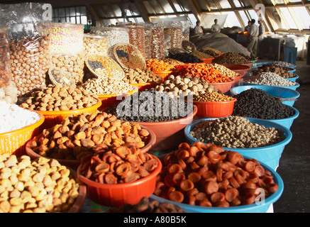 Dried Fruit And Nuts At Stand In Bazaar - Stock Photo