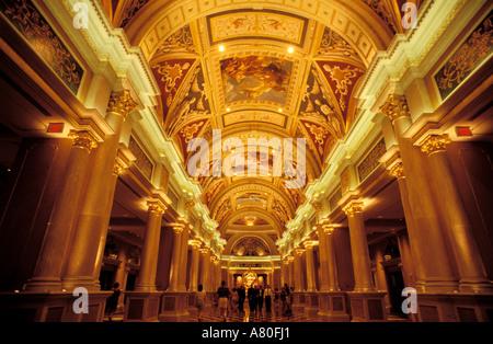 United States, Nevada, Las Vegas, the Venetian Hotel, la Galleria between the lobby and the Casino - Stock Photo