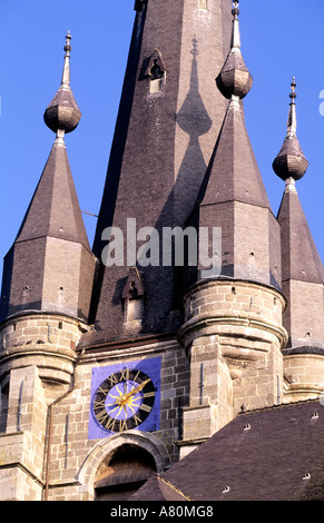 France, Nord, Solre le Chateau church bell tower - Stock Photo
