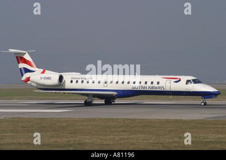 British Airways Embraer EMB 145 regional jet airliner - Stock Photo