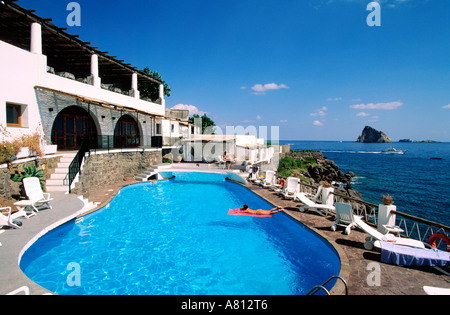 Aeolian Islands Panarea Hotel Raya Stromboli In The Background Stock Photo Royalty Free