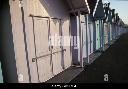 beach huts in Southsea, near Portsmouth, Hampshire - Stock Photo