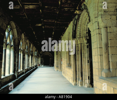 Norman doorway in the cloisters, Durham Cathedral, Durham City, County Durham, England, UK. - Stock Photo