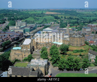 Aerial view over Durham City and Durham Castle from the main tower of Durham Cathedral, Durham City, Co. Durham, - Stock Photo