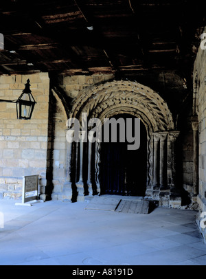 Beautiful Norman doorway in the cloisters, Durham Cathedral, Durham City, Durham, England, UK. - Stock Photo