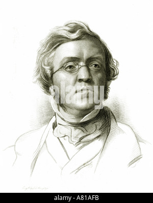 William Makepeace Thackeray 1811-1863. English novelist.  From a drawing by Samuel Lawrence. - Stock Photo