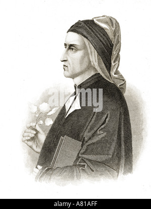 Dante Alighieri, 1265-1321.  Italian poet. - Stock Photo