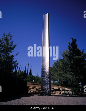 Pillar of Heroism at the Holocaust Museum Yad Vashem in Jerusalem in Israel - Stock Photo