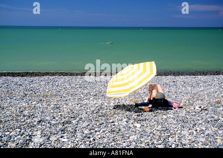 France, Somme, shingle beach of Cayeux sur Mer - Stock Photo