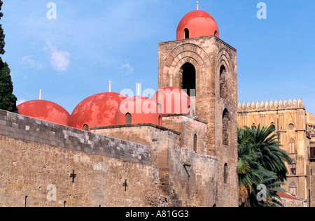 Italy, Sicily, Palermo, the church of San Giovanni degli Eremiti with Roma style and Moorish influences - Stock Photo
