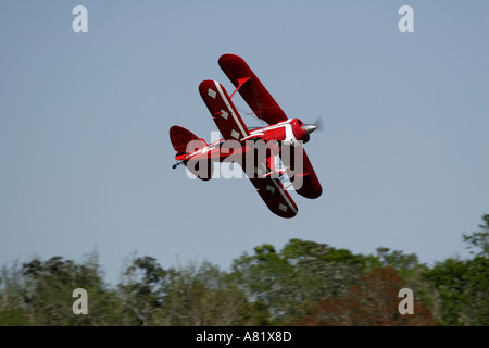 Pitts Aerobatic Biplane piloted by Bill Christian performs at the Slidell Air Show Slidell Louisiana - Stock Photo