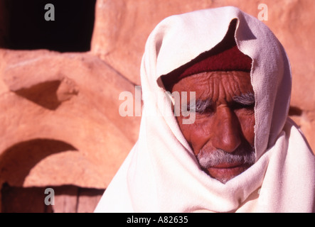 Tunisia Old Man at Ksar Ouled Soltane Tataouine district - Stock Photo