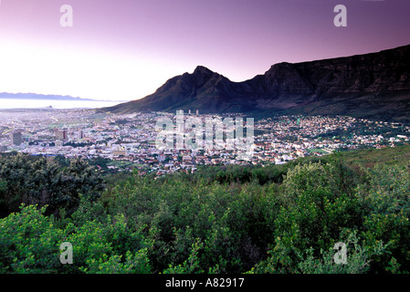 South Africa, Cape Town, Sunrise over Table Mountain - Stock Photo