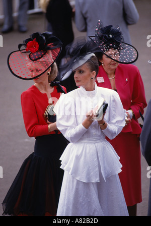 A group of ladies at the Royal Ascot horse race meeting in Ascot Berkshire England - Stock Photo