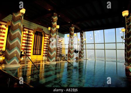 Dubai, United Arab Emirates, swimming pool of the spa (18th floor) of Buj Al Arab hotel - Stock Photo