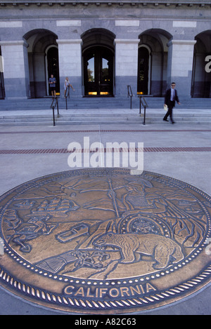 California, Sacramento, Entrance to State Capitol Building, with Great Seal - Stock Photo