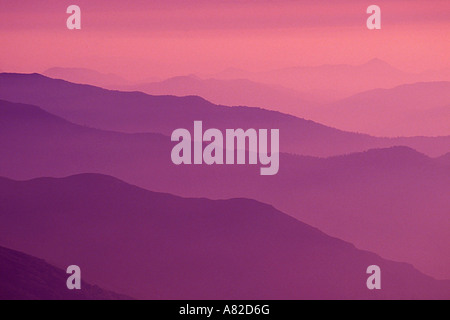 Afternoon haze over the Sierra Nevada foothills from Moro Rock Sequoia National Park California - Stock Photo