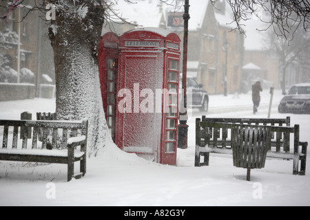 A blizzard engulfs the village of Broadway in Worcestershire UK - Stock Photo
