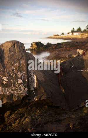 St Lawrence river shore in L ile aux Coudres Charlevoix Quebec on a summer morning - Stock Photo