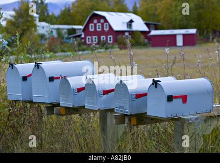 Mailboxes, Palmer, nr. Anchorage, Alaska, USA - Stock Photo