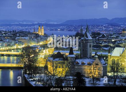 Skyline of Zurich, Switzerland - Stock Photo