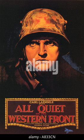ALL QUIET ON THE WESTERN FRONT - poster for 1930 Universal film classic with Lew Ayres Stock Photo