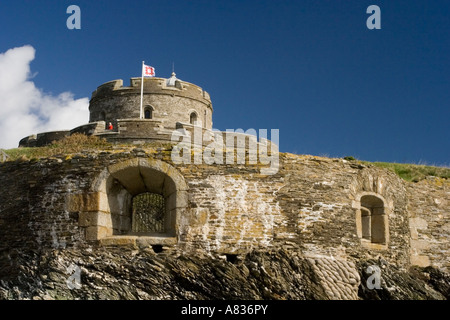 St Mawes Castle from the small beach in front - Stock Photo