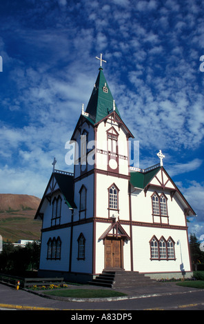 The Lutheran Church at Husavik Iceland - Stock Photo