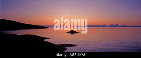 Golden Sunset over Islay and Jura from West Loch Tarbert on the Kintyre Peninsula Scotland UK  GPAN 0062 - Stock Photo