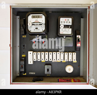 Electricity meter in box with old style fuses, circa 1962, in New Zealand home - Stock Photo