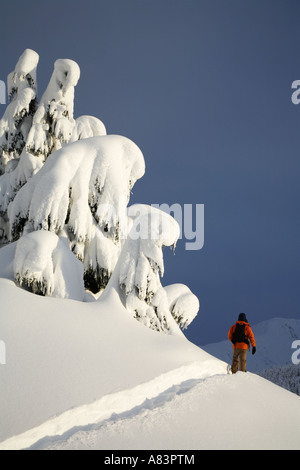 Snowshoeing in Turnagain Pass Chugach National Forest Alaska Model Released - Stock Photo