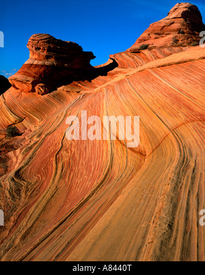 Parallel lines in one of the erosional rock formations at Coyote Buttes on the north edge of the Paria Canyon Vermilion - Stock Photo