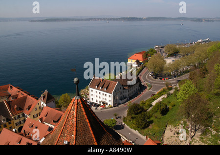 A view over Lake Constance towards the city of Konstanz - Stock Photo