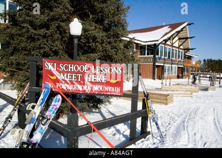 Ski School. Big Powderhorn Mountain Ski Area Bessemer Michigan USA - Stock Photo