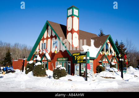Gift shop. Big Powderhorn Mountain Ski Area Bessemer Michigan USA - Stock Photo