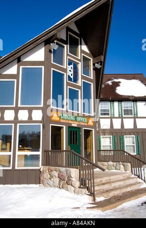 Lodging Association Office. Big Powderhorn Mountain Ski Area Bessemer Michigan USA - Stock Photo