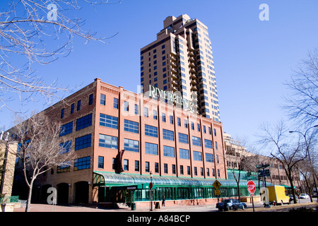 Riverplace an entertainment and office complex in the historic Saint Anthony Main area. Minneapolis Minnesota USA - Stock Photo