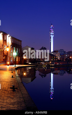 The BT Tower in Birmingham alongside canals offices barges UK - Stock Photo