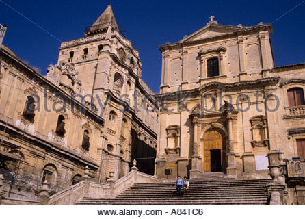 Church of San Francisco and convent of Santissimo Salvatore in Baroque town of Noto - Stock Photo
