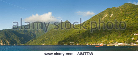 Panoramic view of Soufriere Bay from Scott's head, Dominica, Windward Islands, Caribbean - Stock Photo