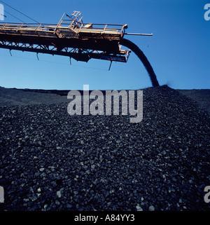 Australia. New South Wales. Myuna coal mine. Outdoor coal stacker and stockpile. - Stock Photo