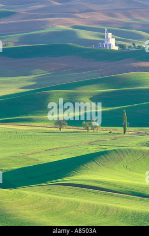 Whitman Grainery and rolling hills of wheat fields Steptoe Butte State Park Palouse area Washington - Stock Photo