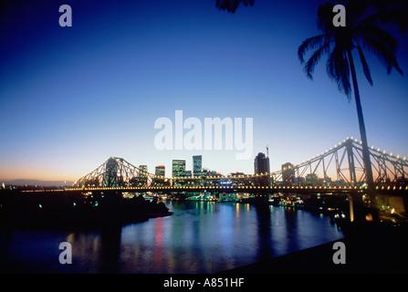 Australia. Queensland. Brisbane. City overview at sundown. - Stock Photo