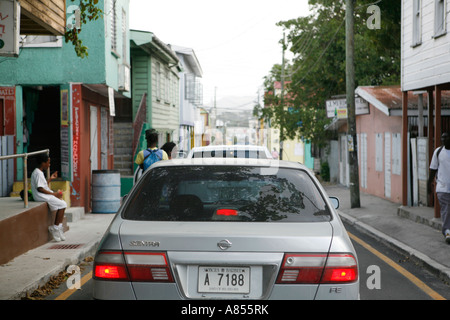 Street Scene in St Johns, Antigua, West Indies. - Stock Photo