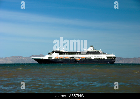 The Holland America cruise ship Ryndam anchored off the coast at the Baja Sur port of Loreto Mexico - Stock Photo