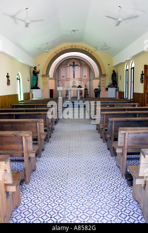 The interior sanctuary of the church of Cabo San Lucas Iglesia de San Lucas in Cabo San Lucas Mexico - Stock Photo