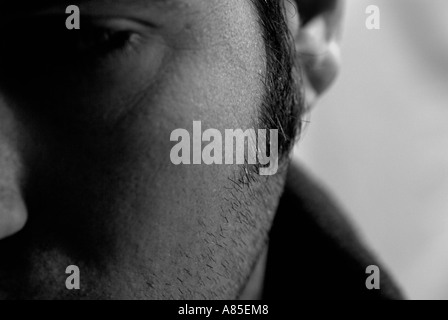 Caucasian Adult Males Face, Close Up. - Stock Photo