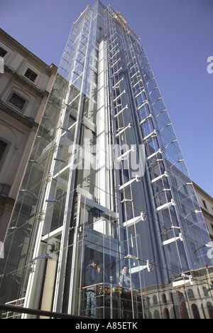 Glass elevator of the modern art museum Centro de Arte Reina Sofia Stock Phot...
