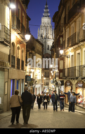 Comercio Street at Dusk with the Cathedral in background, Toledo, Castilla la Mancha, Spain - Stock Photo