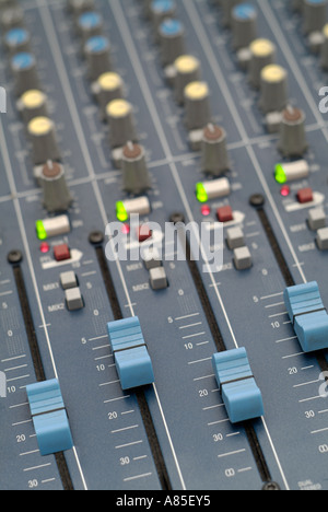 Controls of an Electronic Mixing Desk, Close Up. - Stock Photo